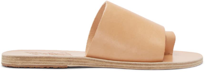 Ancient Greek Sandals Beige Leather Ligia Sandals