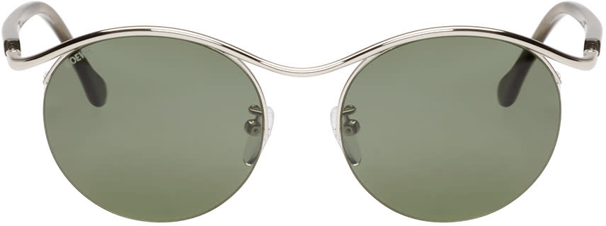 Loewe Silver and Green Gaia Sunglasses