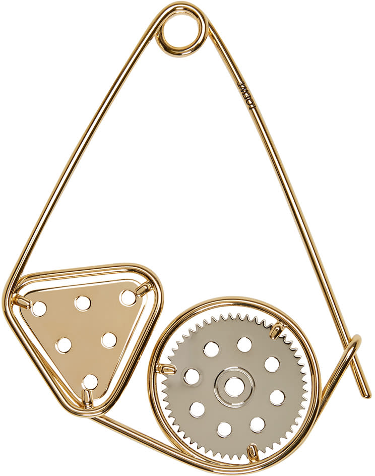 Loewe Gold Meccano Double Brooch