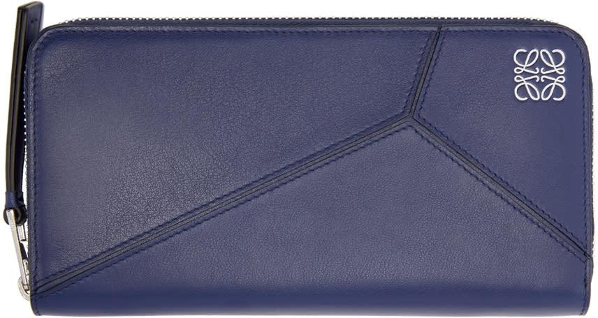 Loewe Navy Zipper Puzzle Wallet