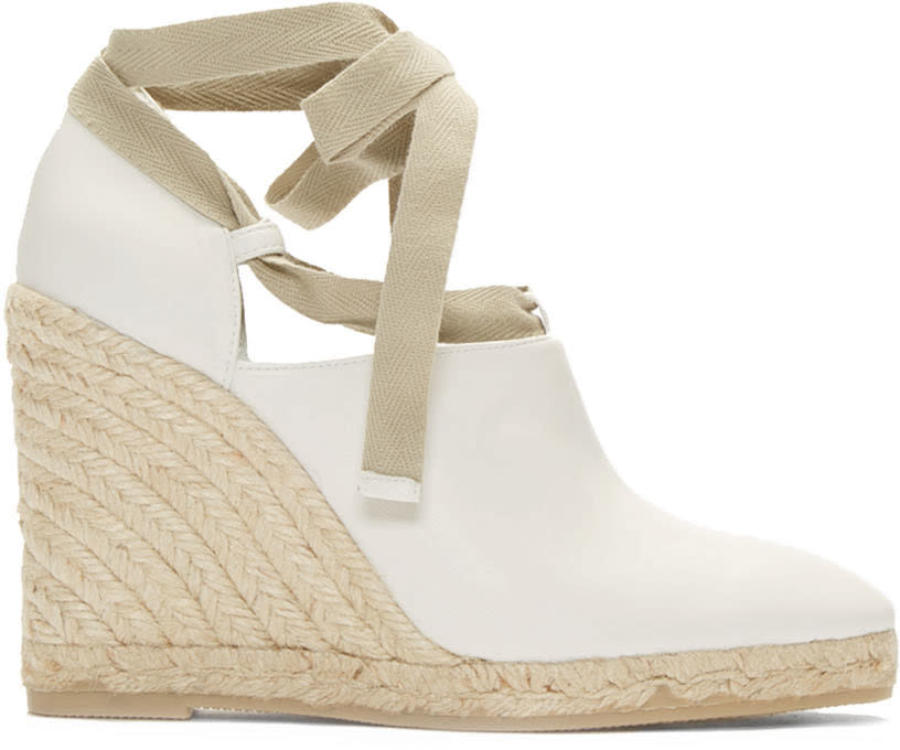 Loewe White Leather Wedge Espadrilles
