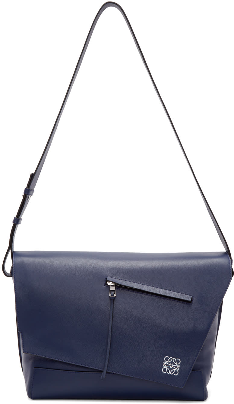 Loewe Navy Leather Anton Messenger Bag