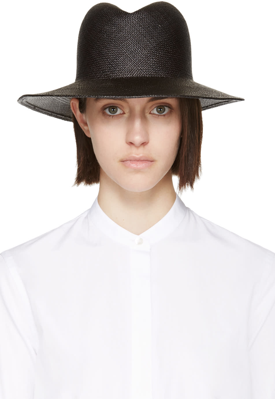 Clyde Black Straw Dip Hat