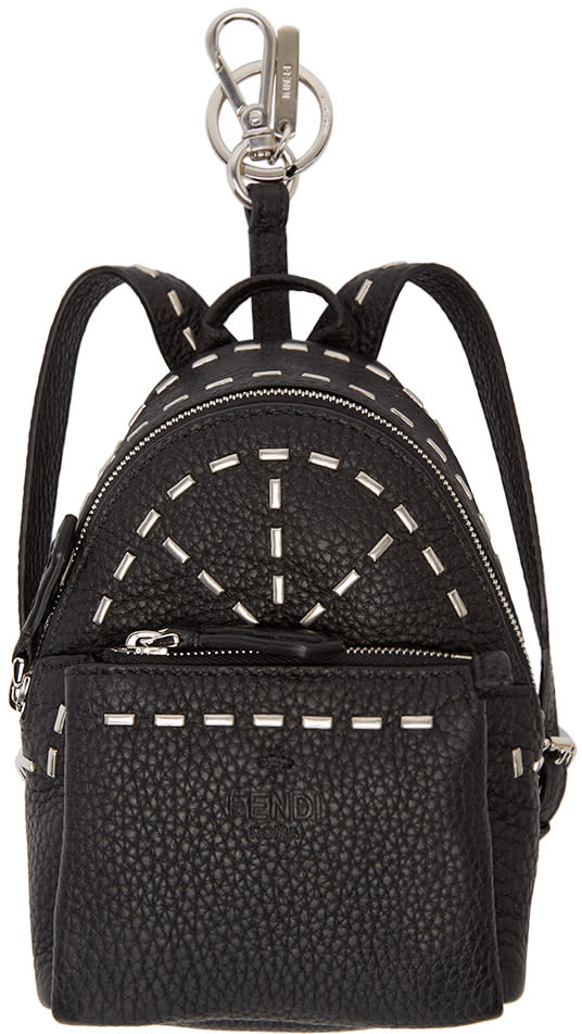 Fendi Black Leather Backpack Keychain