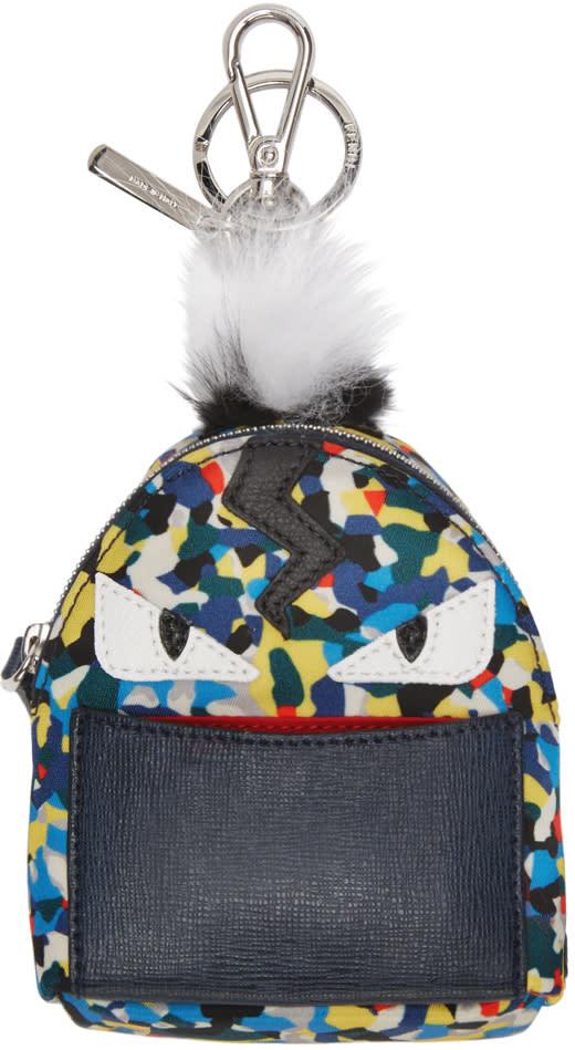 Fendi Navy Fur-trimmed Micro Backpack Keychain