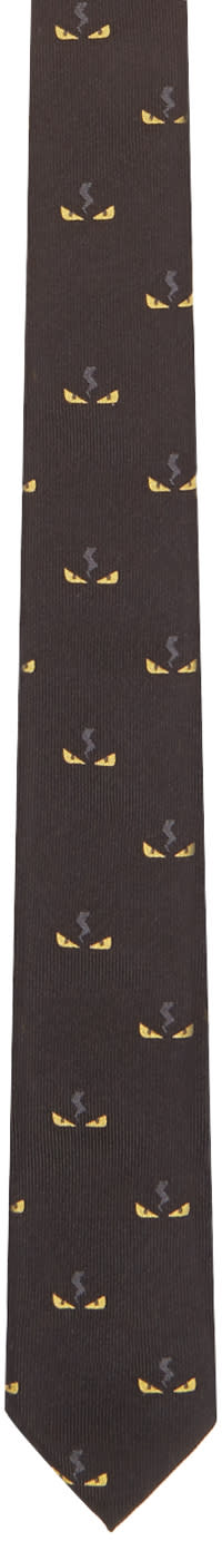 Fendi Black Monster Eyes Print Tie