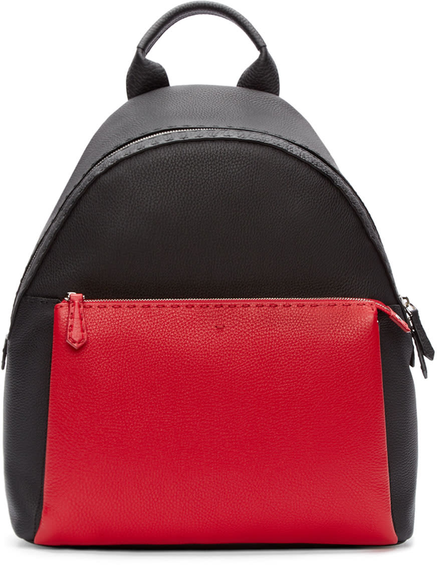 Fendi Black and Red Leather Backpack