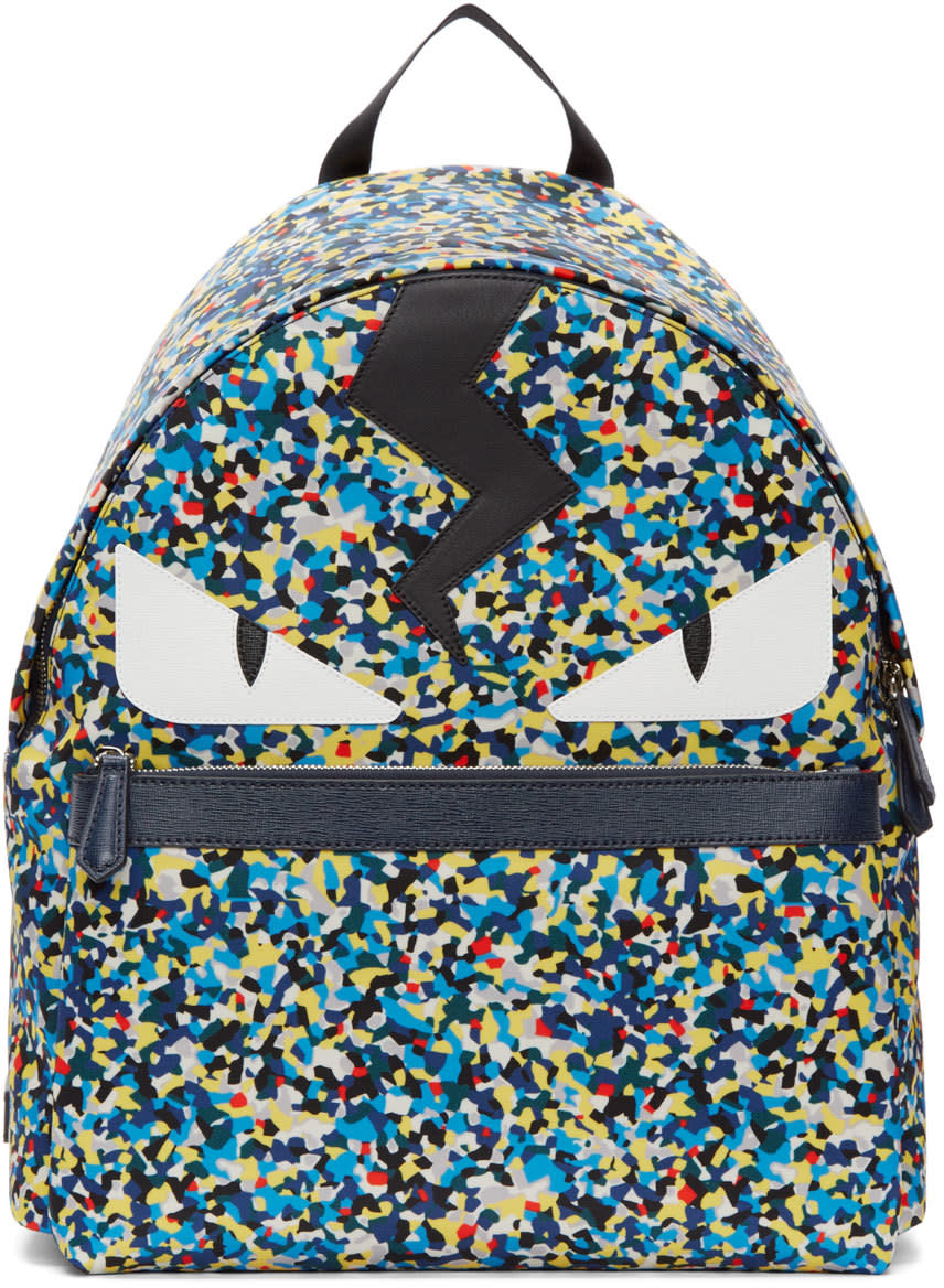 Fendi Blue Multicolor Monster Backpack