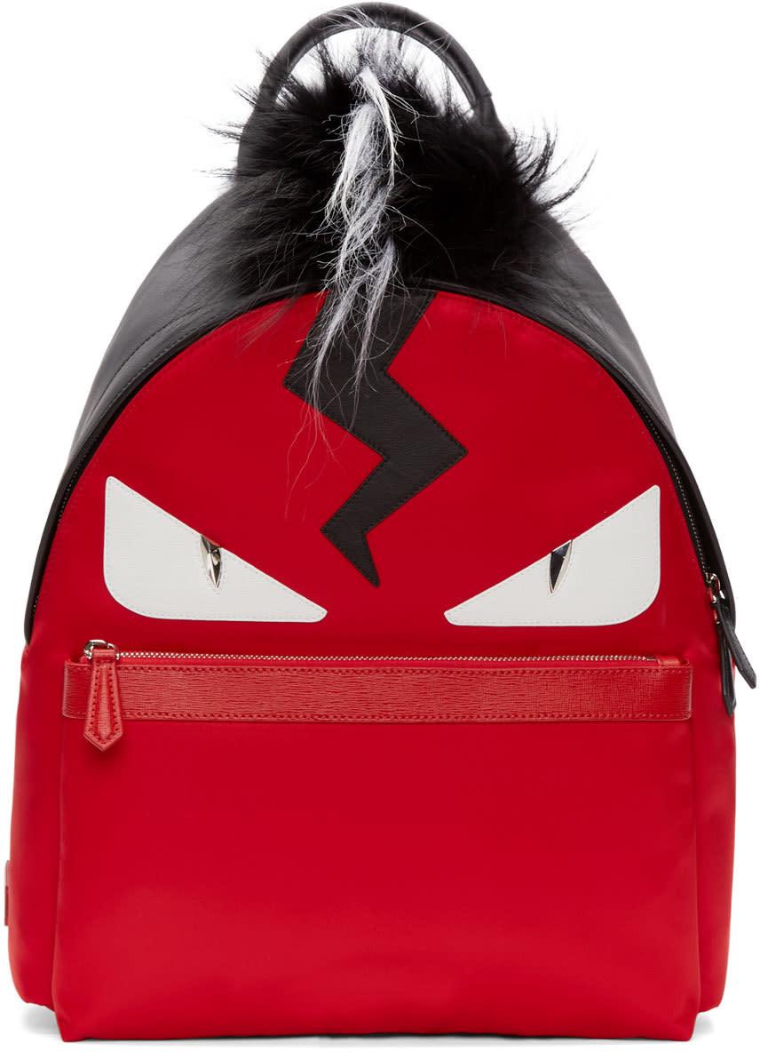 Fendi Red and Black Fur-trimmed Monster Backpack