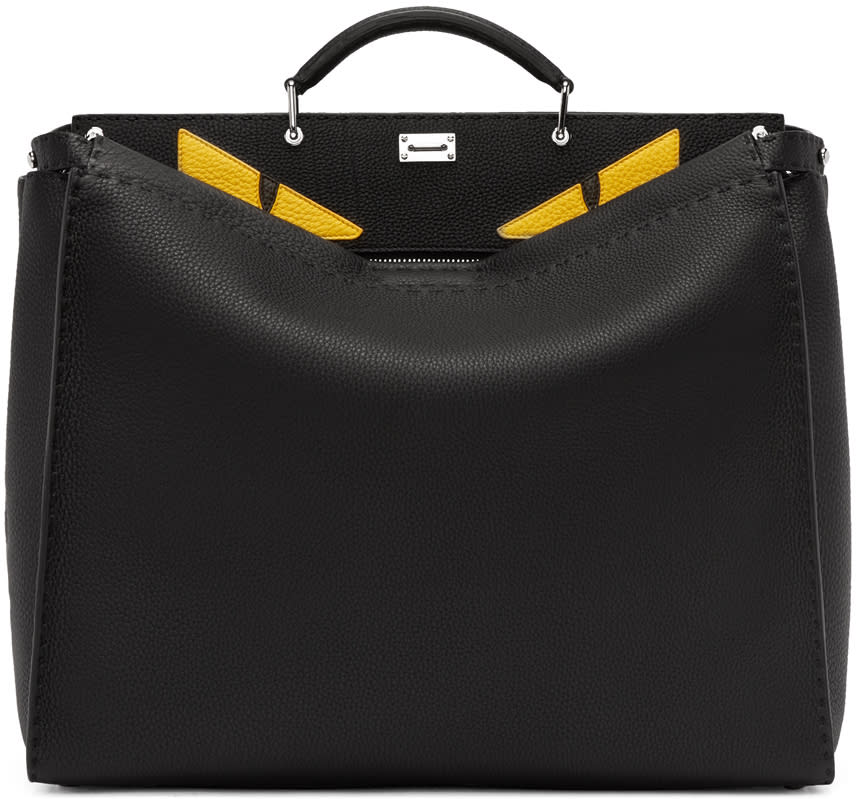 Fendi Black Monster Eyes Large Peekaboo Tote