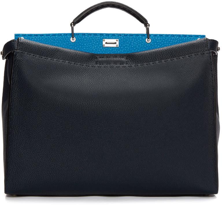 Fendi Navy Leather Peakaboo Bag