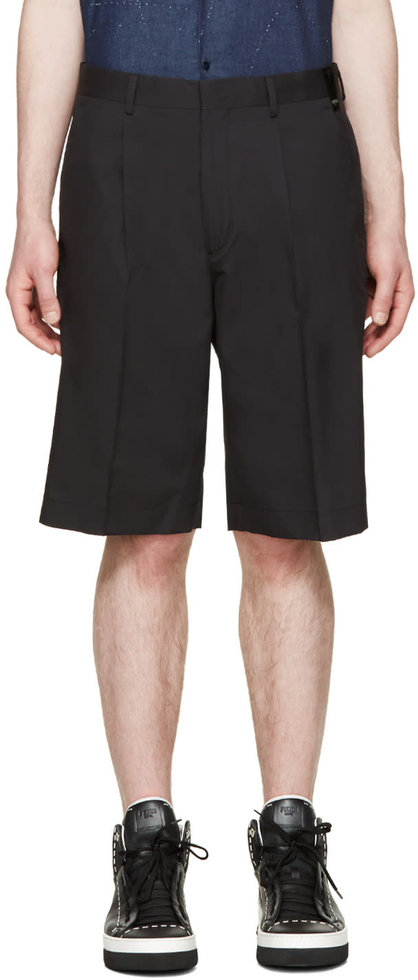Fendi Black Silk Shorts