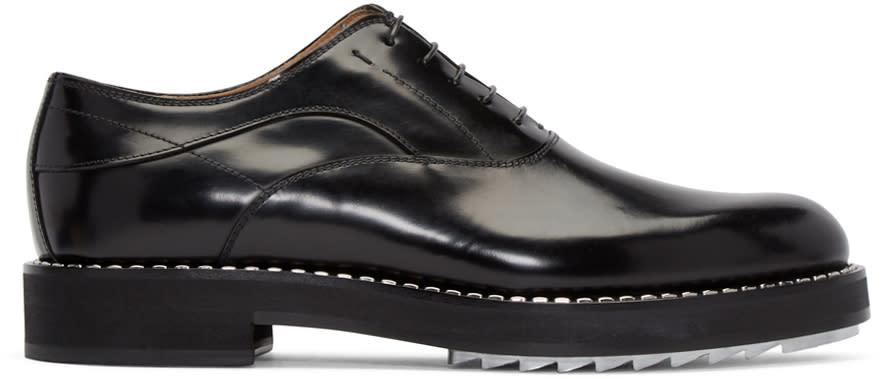 Fendi Black Leather Studded Oxfords