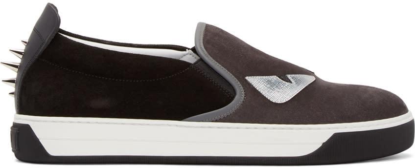Fendi Grey and Black Monster Slip-on Sneakers