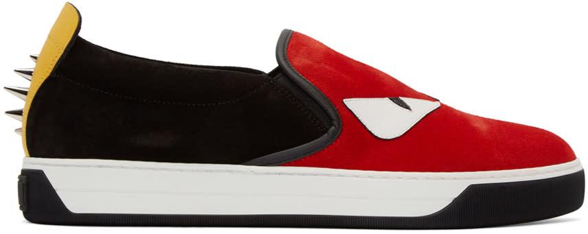Fendi Red and Black Monster Slip-on Sneakers