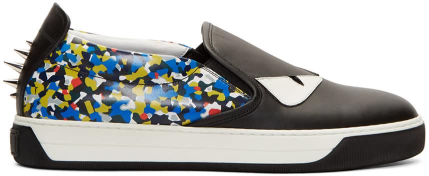 Fendi Black and Blue Monster Slip-on Sneakers
