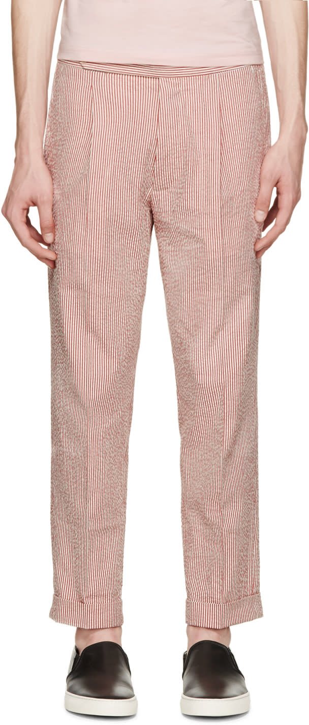 Palm Angels Red and White Classic Seersucker Pants