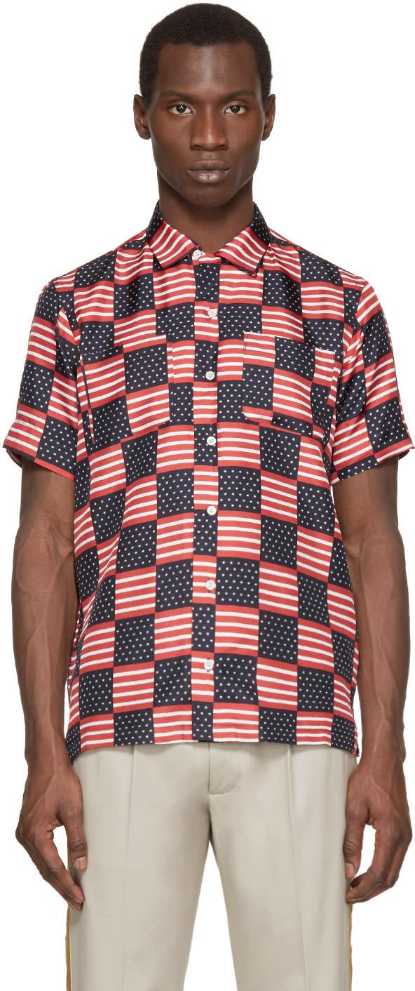 Palm Angels Tricolor Silk Flag Shirt