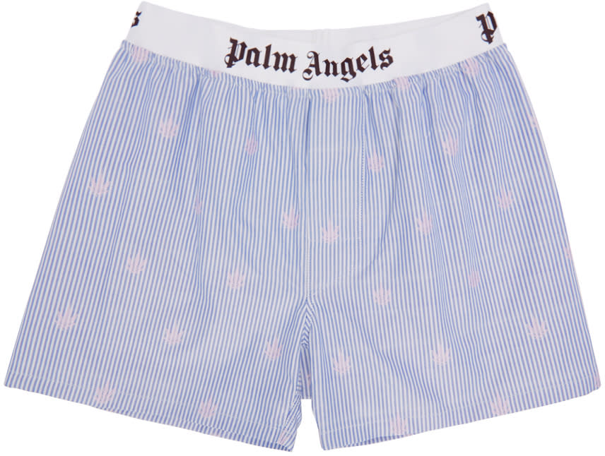 Palm Angels White and Blue Leaf Print Boxers