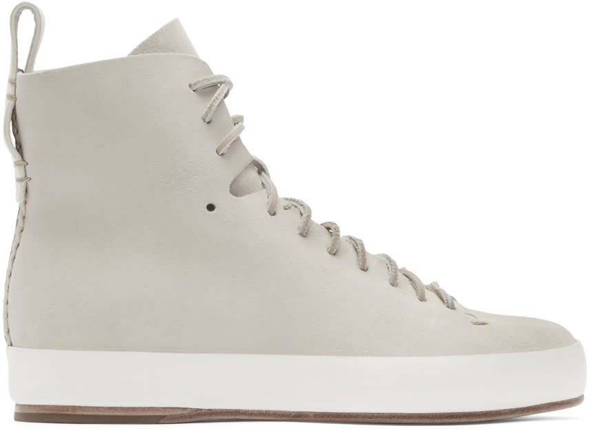 Feit Beige Hand Sewn High-top Sneakers