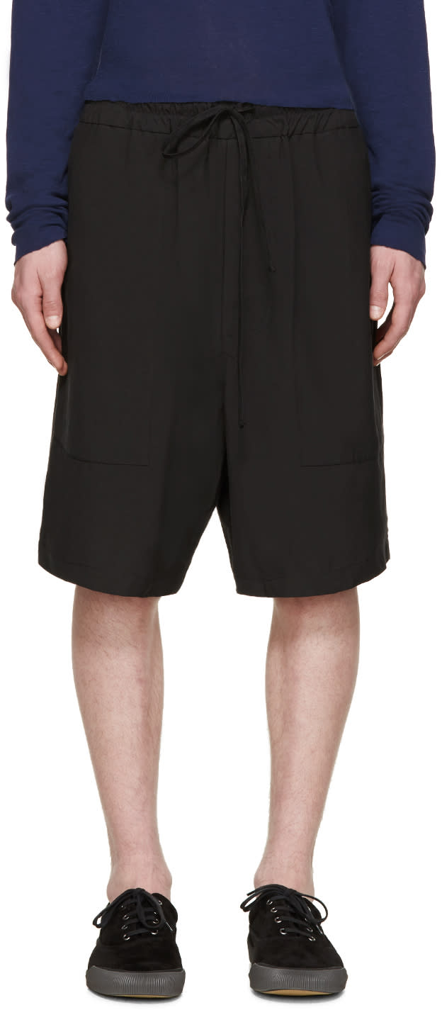 Song For The Mute Black Drawstring Shorts