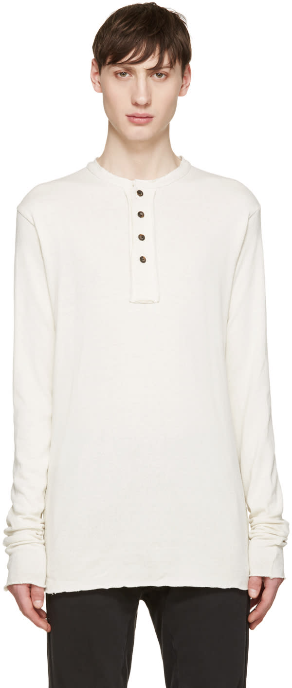 Song For The Mute Off-white Knit Henley T-shirt
