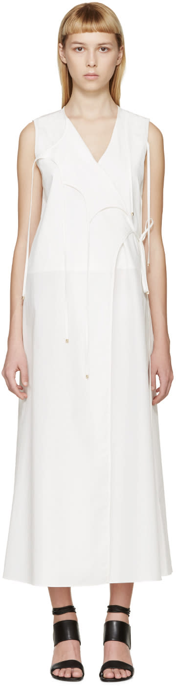 Rosetta Getty White Poplin Wrap Dress
