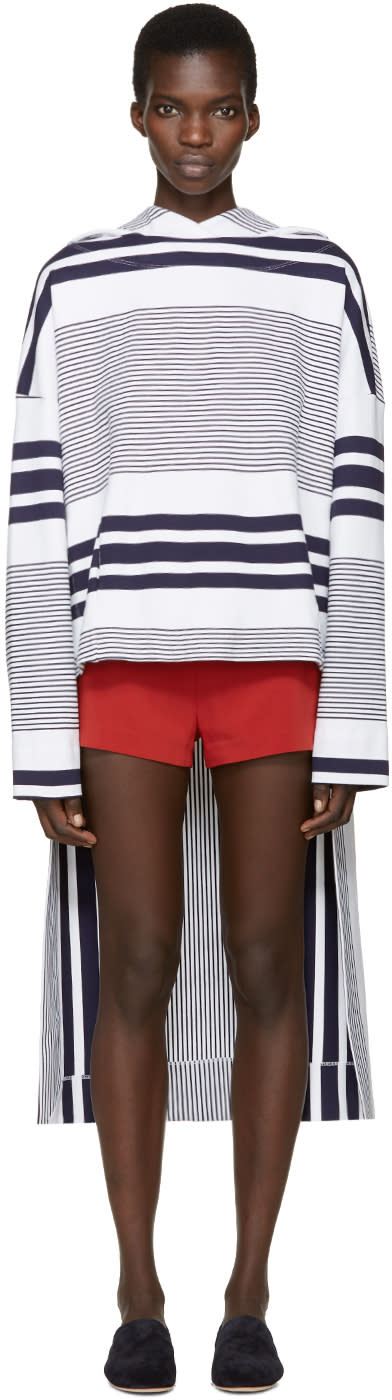 Rosetta Getty White and Navy Striped Hooded Poncho