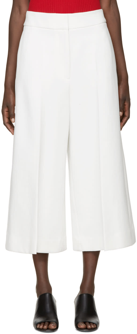 Rosetta Getty Ivory Structured Culottes