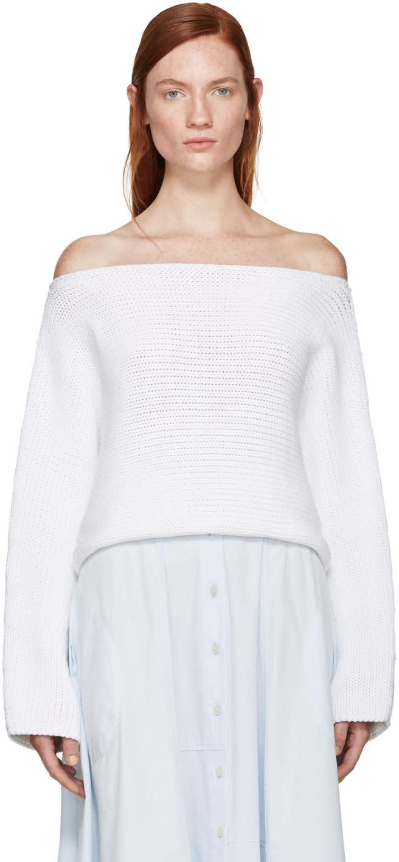 Rosetta Getty White Knit Boatneck Sweater