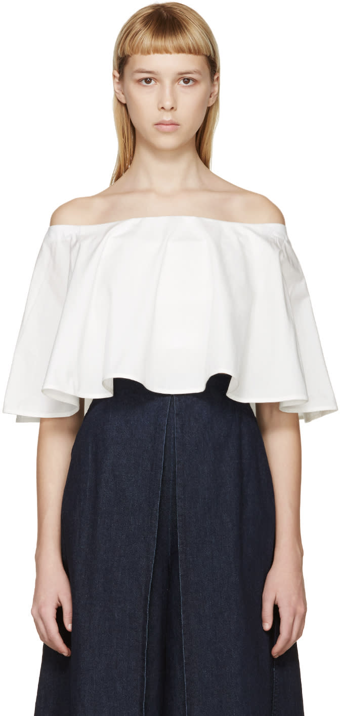 Rosetta Getty Ivory Off-the-shoulder Circle Top