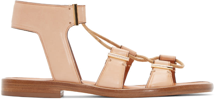 Image of Rosetta Getty Beige Leather Lace-up Sandals