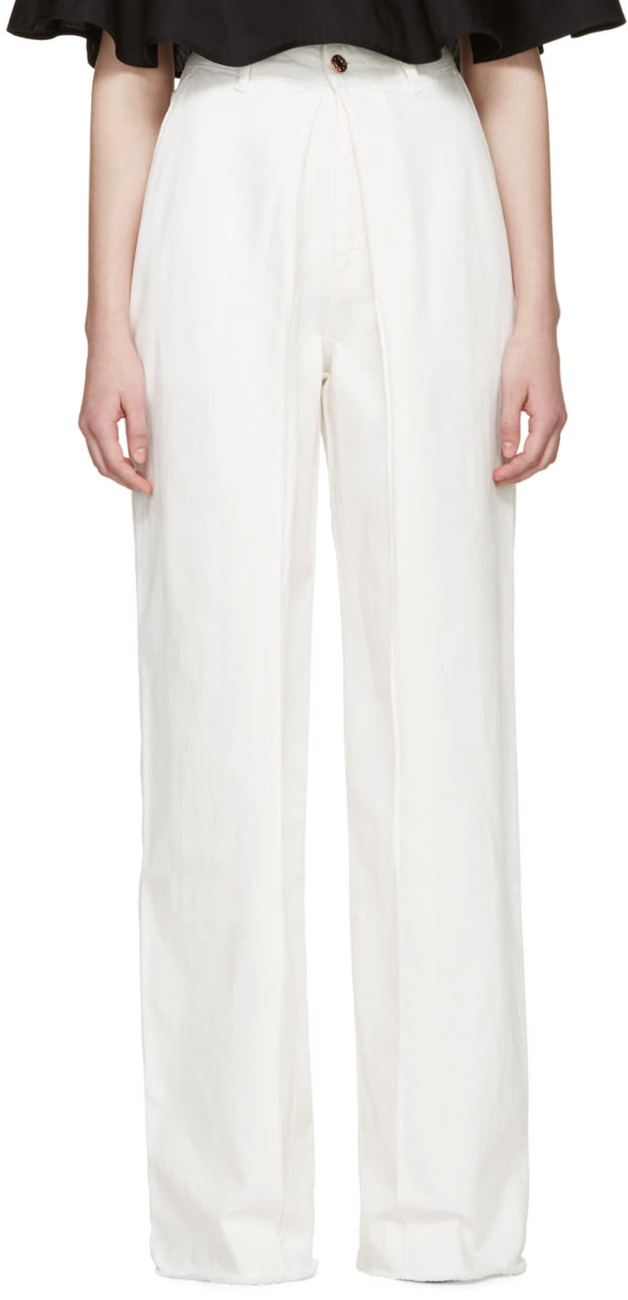 Image of Aalto White Front Pleat Jeans
