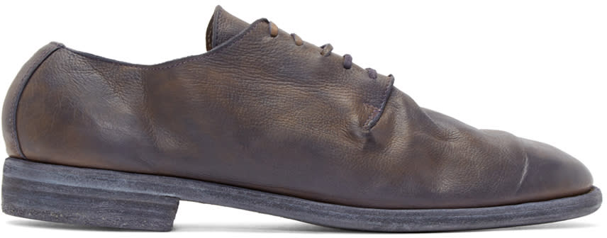 Guidi Purple Leather Distressed Derbys
