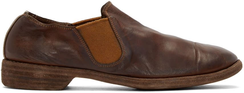 Guidi Brown Leather Distressed Loafers