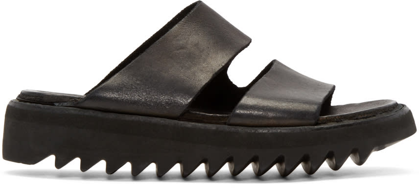 Guidi Black Leather Double Strap Sandals