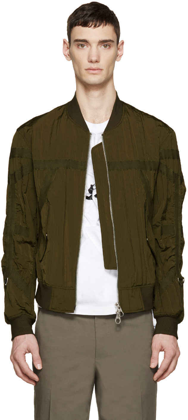 Wooyoungmi Green Nylon Taped Bomber Jacket