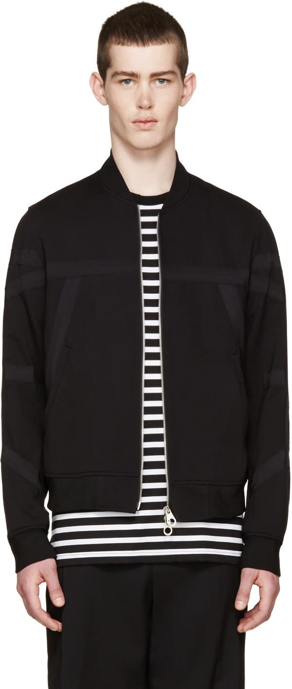 Wooyoungmi Black Jersey Tape Bomber Jacket