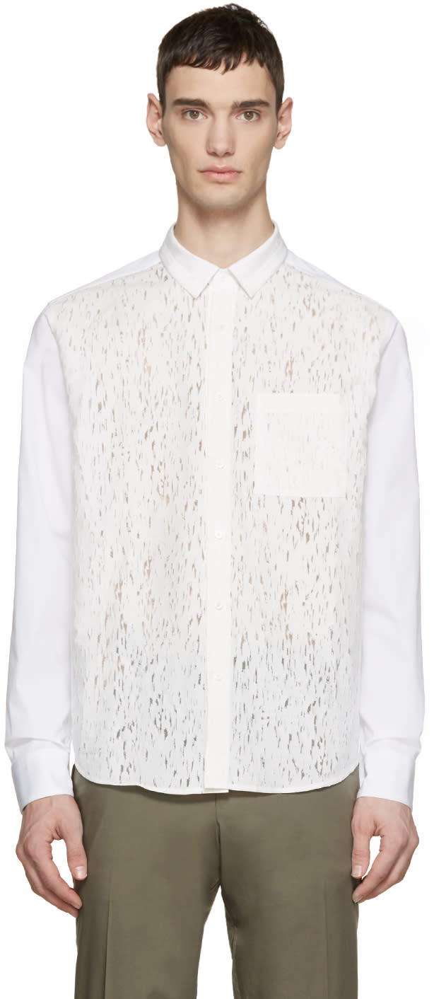 Wooyoungmi White Poplin Burnout Shirt