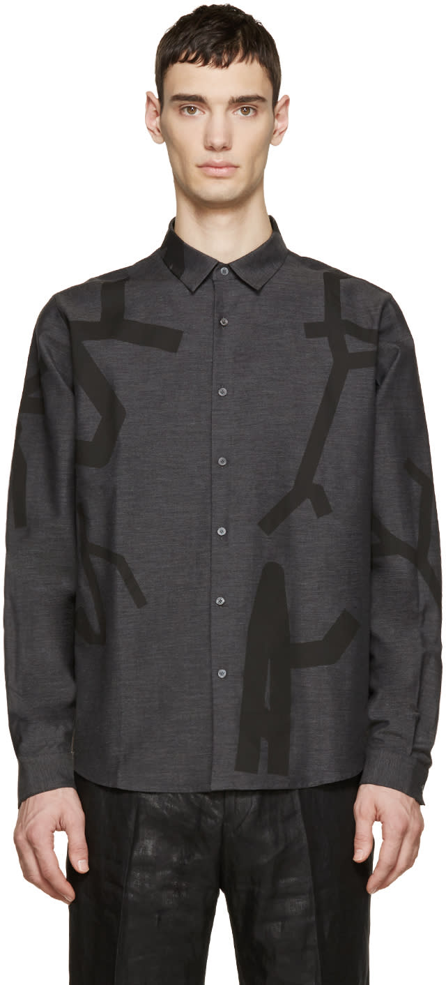 Wooyoungmi Grey Printed Tape Shirt