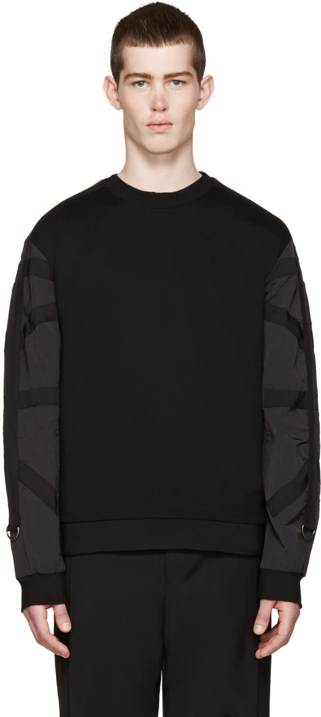 Wooyoungmi Black Contrast Sleeve Pullover