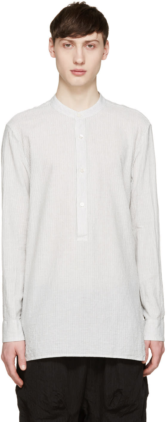 Attachment White and Grey Striped Shirt