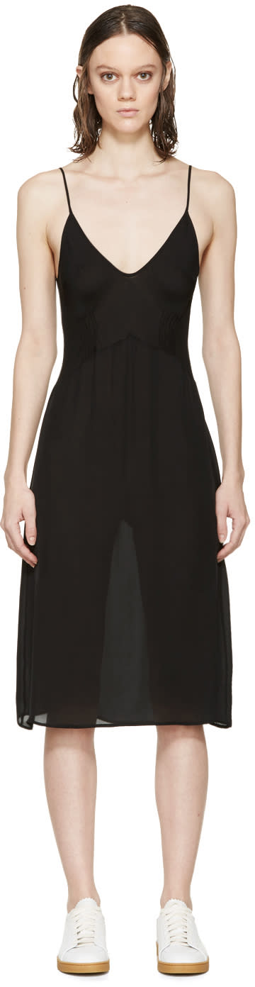 Araks Black Silk Cadel Slip Dress