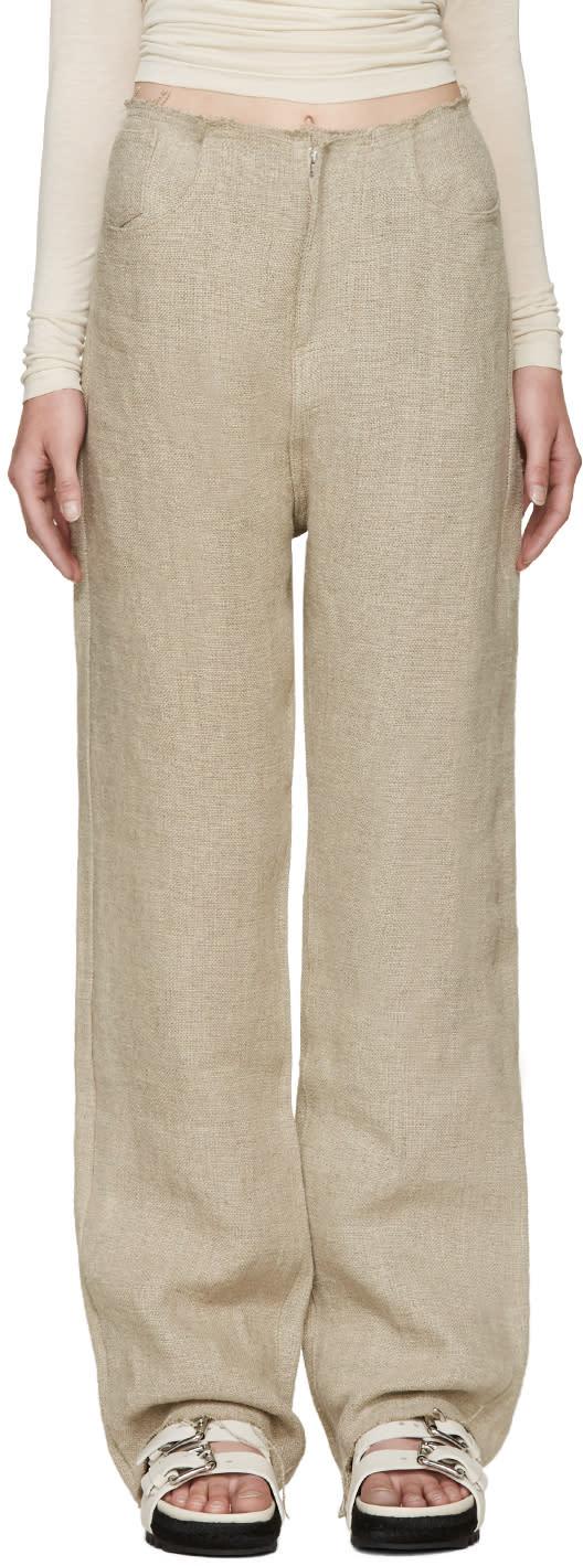 Marques Almeida Beige Linen Boyfriend Jeans
