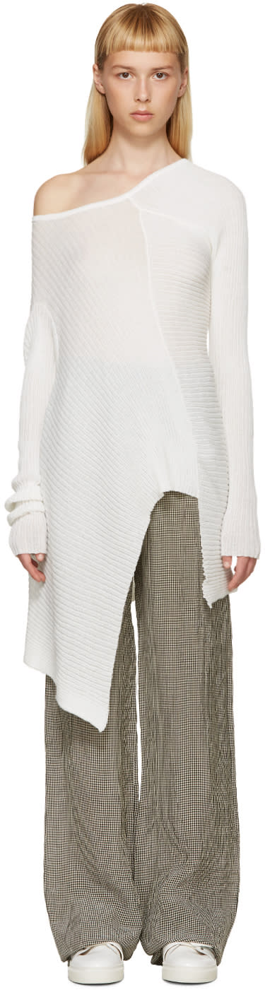 Marques Almeida White Deconstructed Single-shoulder Sweater