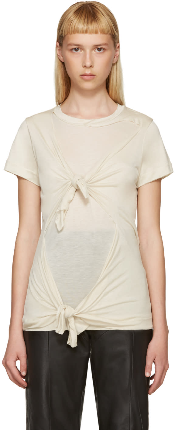 Marques Almeida Beige Slashed and Knotted T-shirt