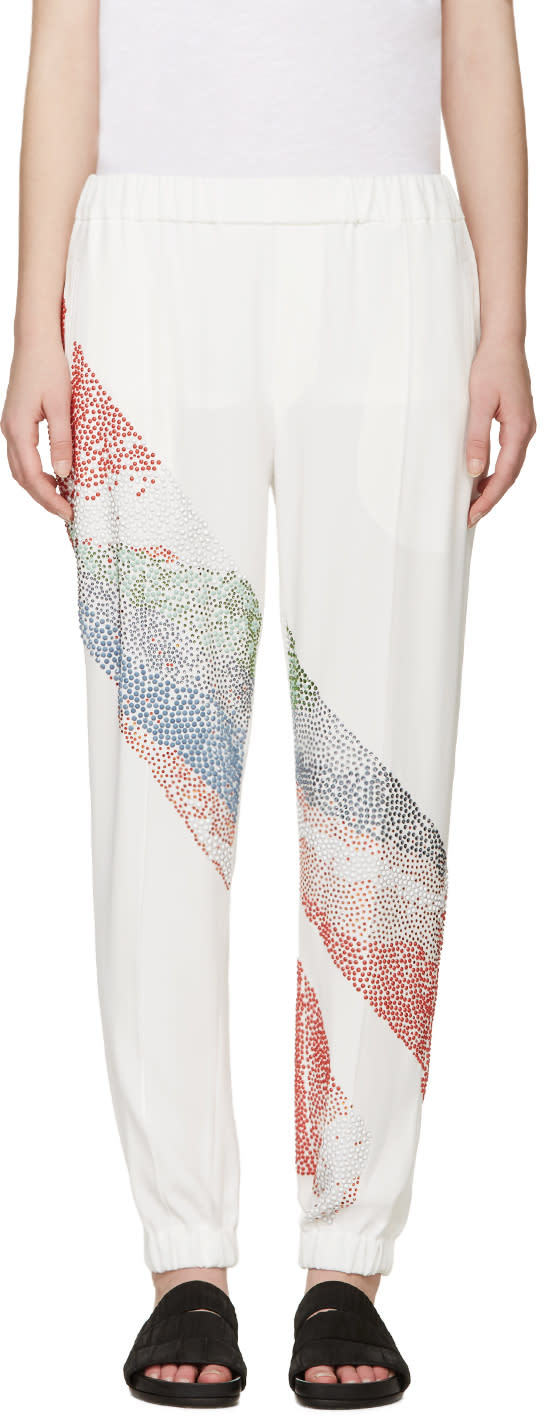 Baja East Ivory and Multicolor Embellished Trousers