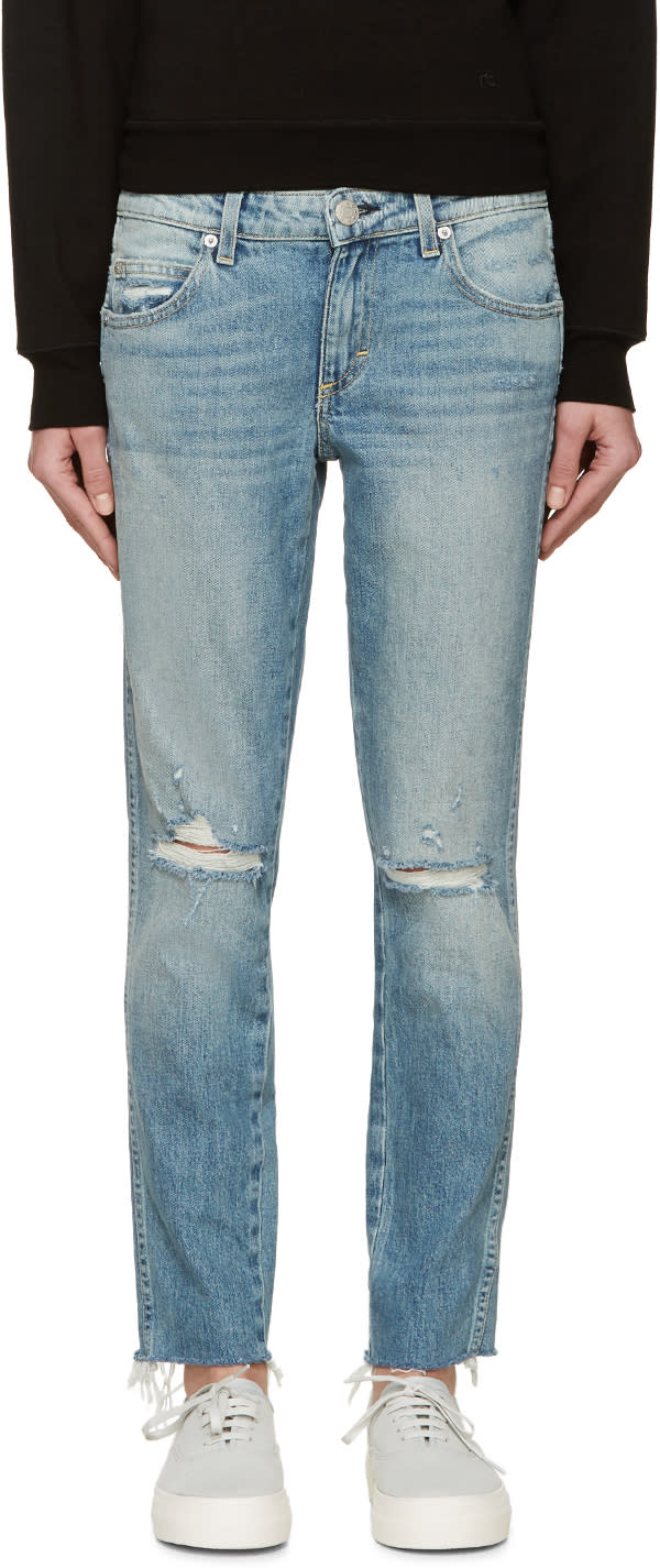 Amo Blue Slim Distressed Stix Jeans