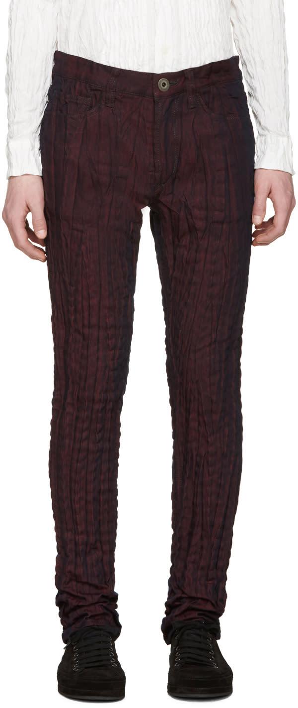 Issey Miyake Men Red Pleated Torus Jeans