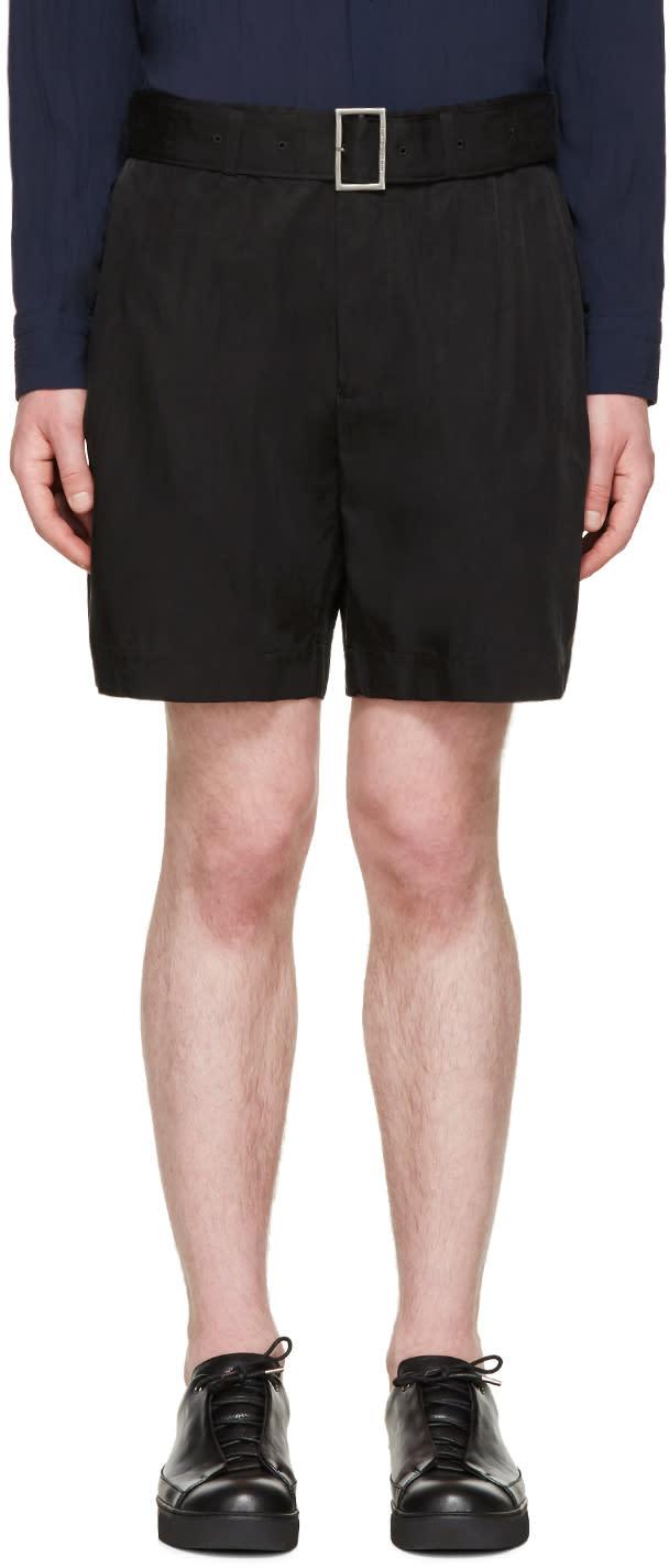Issey Miyake Men Black Cupro Belted Shorts